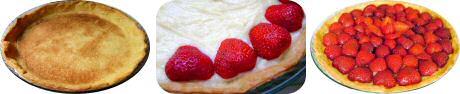 Aardbeientaart recept: bak een vel bladerdeeg droog, vul met pudding en verse aardbeien, laat blinken door en lauwe abrikozengelei over te borstelen