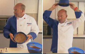Piet Huysentruyt toent hoe je chocolademousse kan maken zonder ei en toch stijf genoeg om de kom boven zijn hoofd om te keren