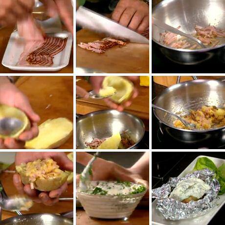 Gevulde aardappel in aluminiumfolie met roomsaus