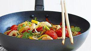 Wok met scampi en groenten